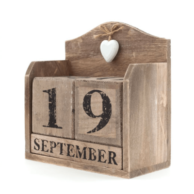 Rustic Calendar with White Hearts
