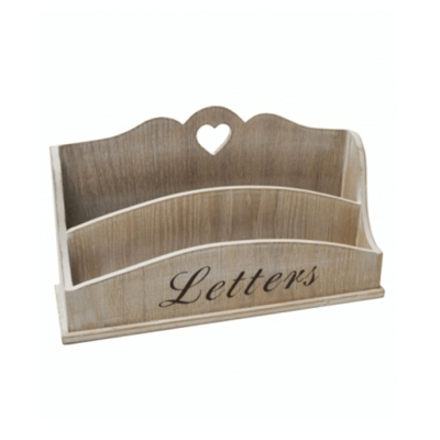 Wooden Cream Natural Letter Rack