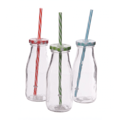Vintage Milk Bottles with Straw
