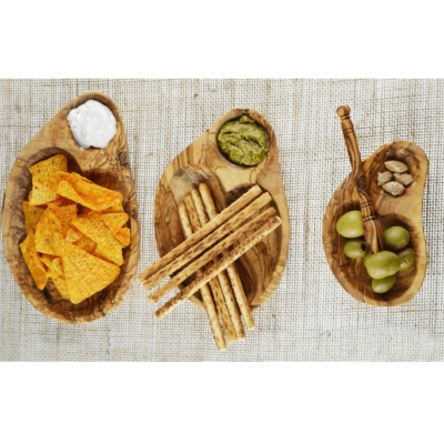 Olive Wood Appetiser Dish Set of 3