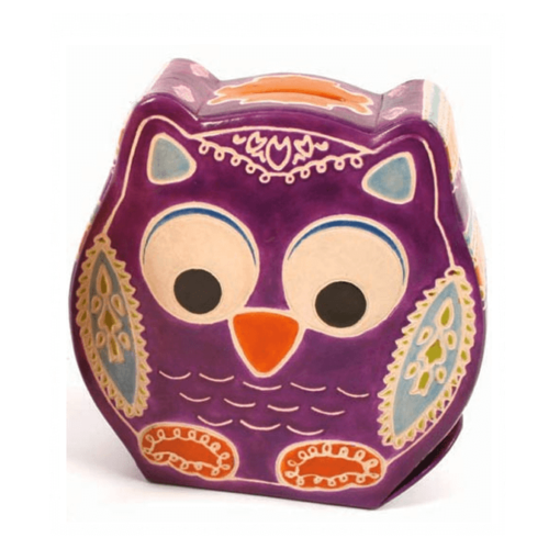 Leather Owl Money Box