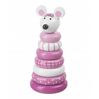 Pink Mouse Stacking Ring Toy