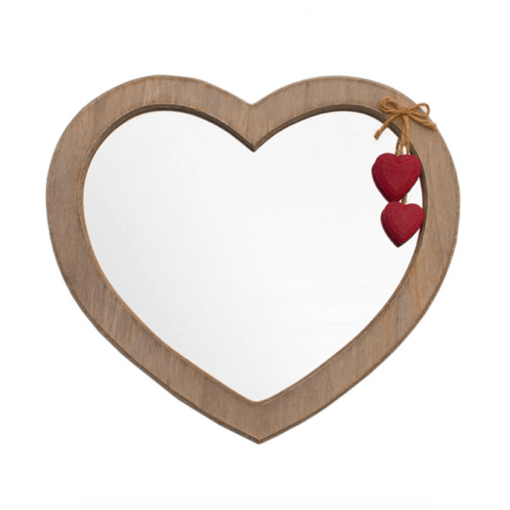 Rustic Heart Mirror Red Hearts