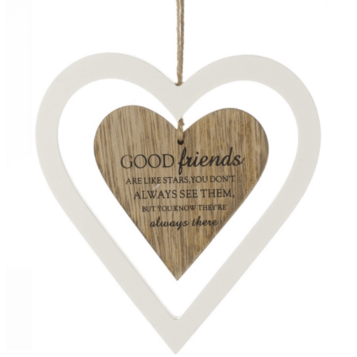 2 Wooden hearts Good Friends Quote