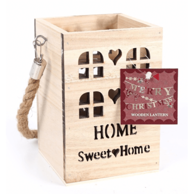 Wooden T-Light lantern Home-Sweet-Home